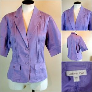 Coldwater Creek violet short sleeve blazer jacket